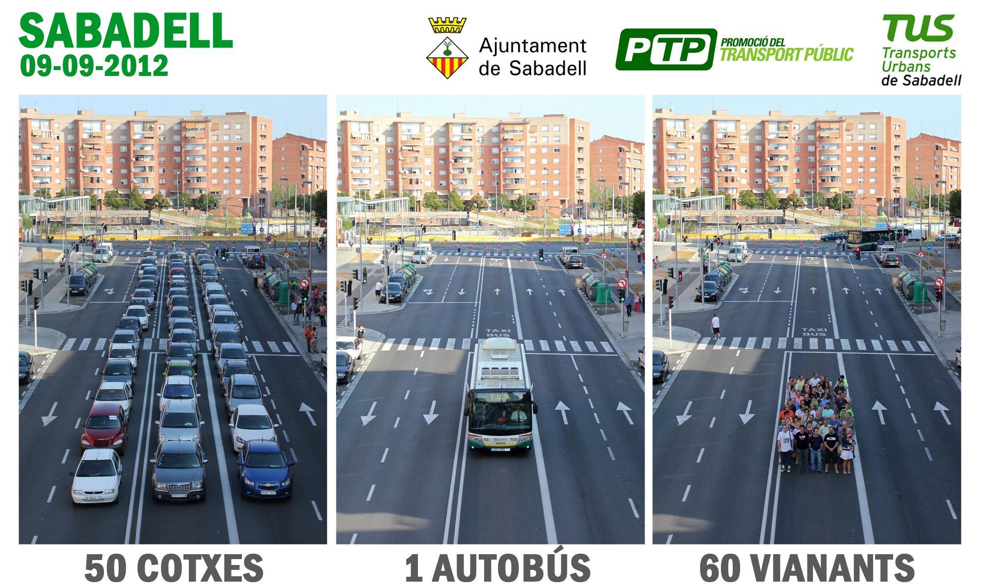 2011 Foto comparativa 50 cotxes 1 autobus 60 vianants Sabadell