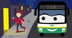 Portada bus parada nocturna